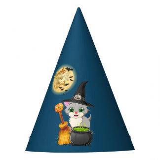 Grey Kitten Halloween Cartoon Party Hat