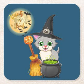 Grey Kitten Halloween Cartoon Square Paper Coaster