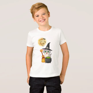 Grey Kitten Halloween Cartoon T-Shirt