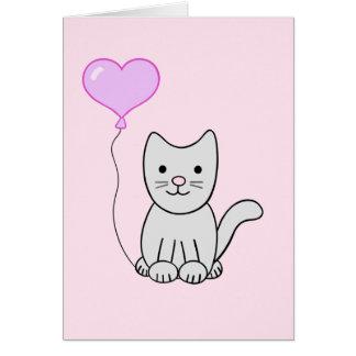 Grey Kitty Cat w Heart Balloon Greeting Card