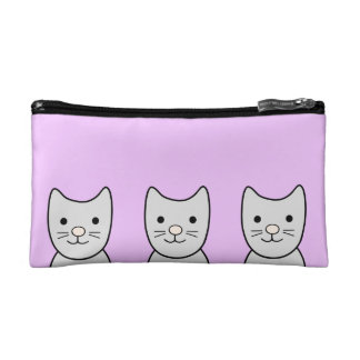 Grey Kitty Cats Cosmetic Bag