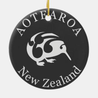 Grey Kiwi with Koru, Aotearoa, New Zealand Ceramic Ornament