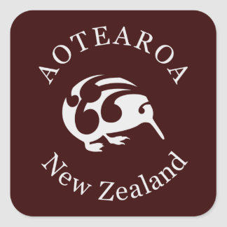 Grey Kiwi with Koru, Aotearoa, New Zealand Square Sticker