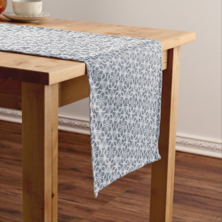 Grey Lacy Snowflake Pattern Table Runner