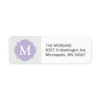 Grey & Lavender Modern Chevron Custom Monogram Return Address Label
