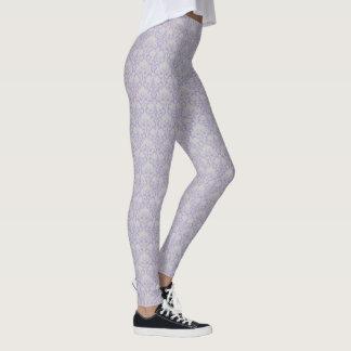 Grey & Lavender Purple Damask Floral Pattern Leggings
