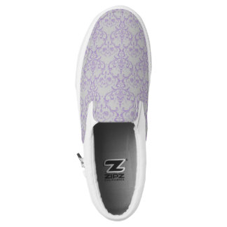 Grey & Lavender Purple Damask Floral Pattern Slip-On Shoes
