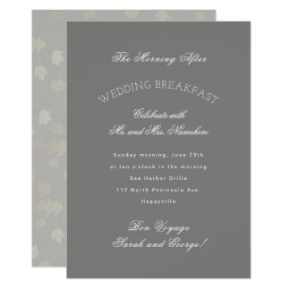 Grey Leaves Autumn Wedding Breakfast Invitation