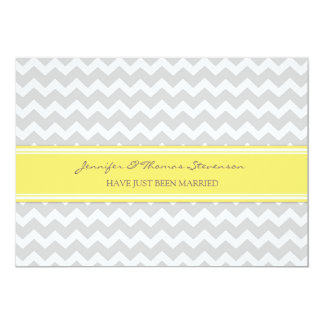 Grey Lemon Chevron Just Married Announcement Cards