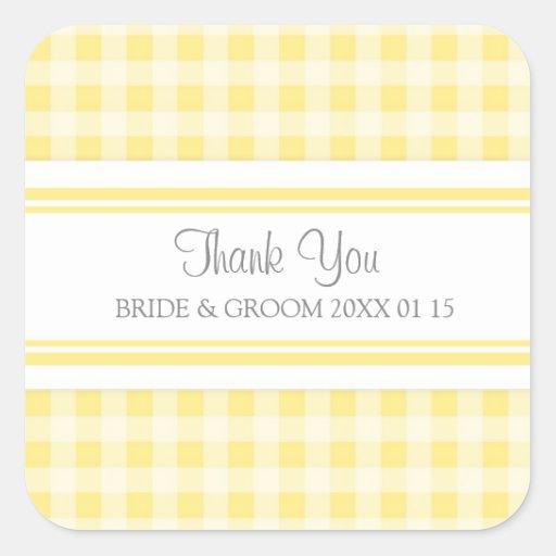 Grey Lemon Gingham Thank You Wedding Favor Tags Square Sticker