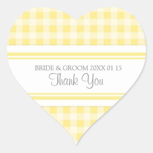 Grey Lemon Gingham Thank You Wedding Favor Tags Sticker