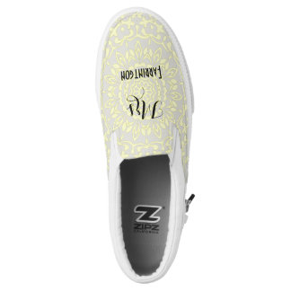 Grey Lemon Lacy Print Personalized Brides Wedding Slip-On Shoes