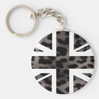 Grey Leopard Fur Pattern Jack British(UK) Flag Keychain
