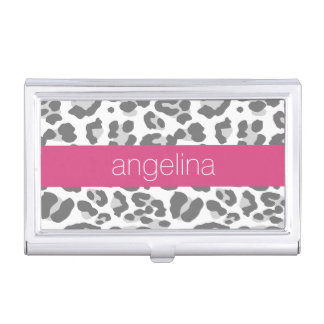Grey Leopard Print Pattern with Pink Name Business Card Holder