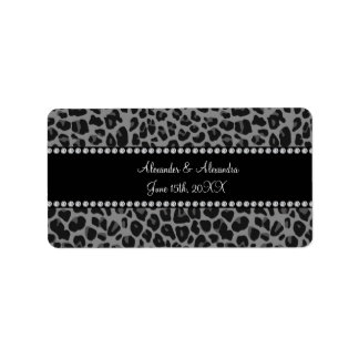 Grey leopard print wedding favors label