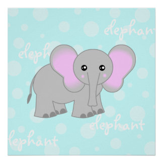 Grey / Light Blue Baby Elephant Cute Poster Print