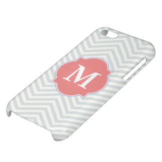 Grey & Light Coral Modern Chevron Custom Monogram iPhone 5C Case