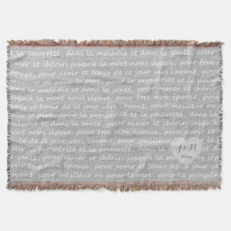 Grey Linen Burlap Look with French Wedding Vows Throw Blanket