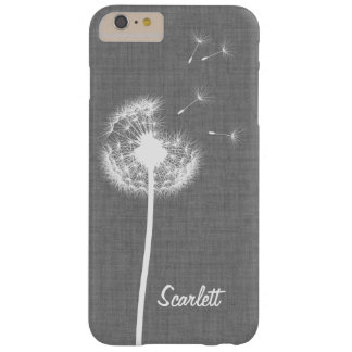 Grey Linen Dandelion Monogrammed iPhone 6/6s Plus Barely There iPhone 6 Plus Case