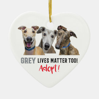 Grey Lives Matter Too Adopt Ceramic Heart Decoration