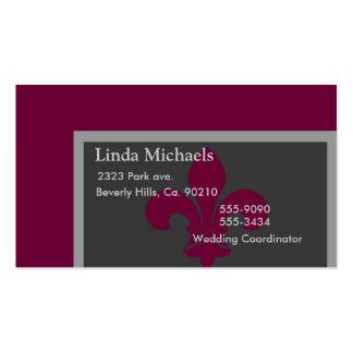 Grey & Magenta Fleur De Lis Pack Of Standard Business Cards