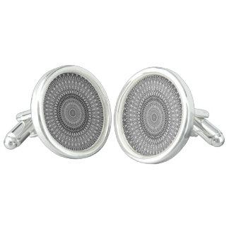 Grey mandala cuff links