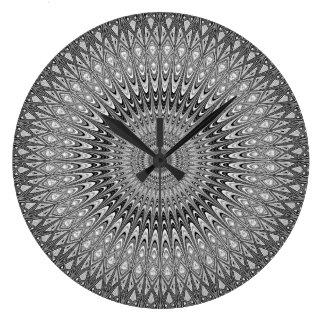 Grey mandala large clock