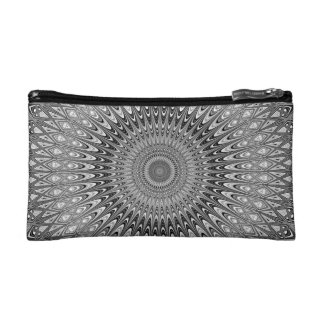 Grey mandala makeup bags