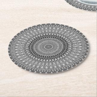 Grey mandala round paper coaster