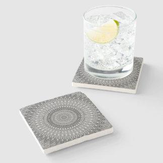 Grey mandala stone coaster