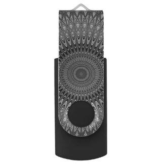Grey mandala USB flash drive