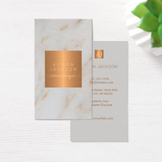 Grey marble glam metallic copper monogram designer business card