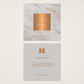 Grey marble metallic copper gold monogrammed square business card