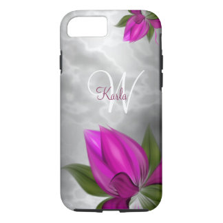 Grey Marble Pink Floral iPhone 8/7 Case