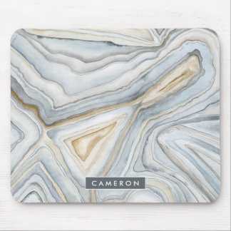 Grey Marbled Abstract Design Mouse Pad