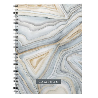 Grey Marbled Abstract Design Notebooks