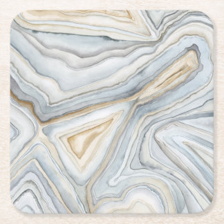 Grey Marbled Abstract Design Square Paper Coaster