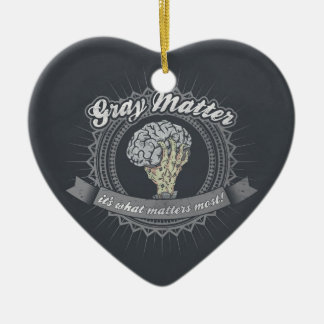 Grey Matter, It's What Matters Most! Ceramic Heart Decoration
