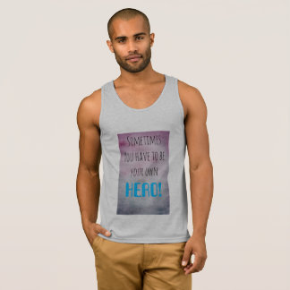 Grey men's tank top with motivational text
