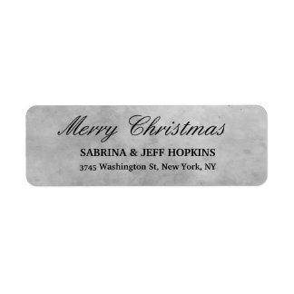 Grey Merry Christmas Message Family Return Address Label
