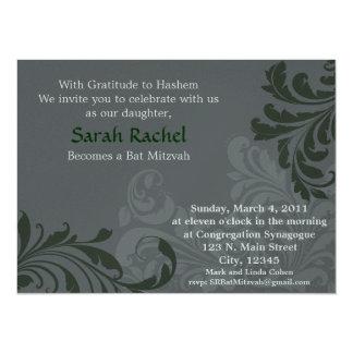 Grey Metalic Damask - Dark Green Invitation