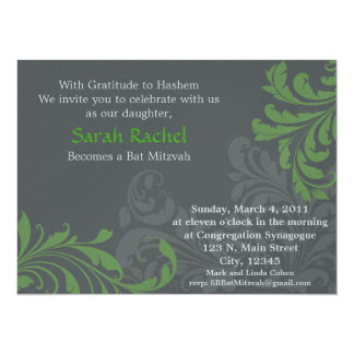 Grey Metalic Damask - Green Invitation