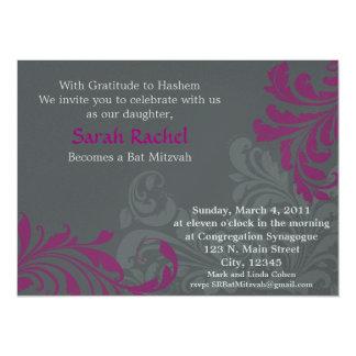 Grey Metalic Damask - Pink Invitation