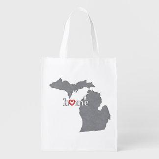 Grey MICHIGAN Home & Open Heart Reusable Grocery Bag