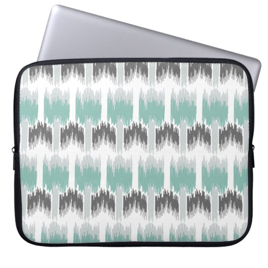 Grey Mint Aqua Modern Abstract Floral Ikat Pattern Laptop Sleeve