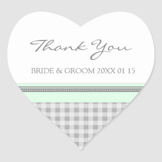 Grey Mint Gingham Thank You Wedding Favor Tags Heart Sticker