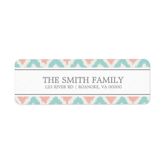 Grey Mint Peach Zigzag Tribal Pattern Return Address Label