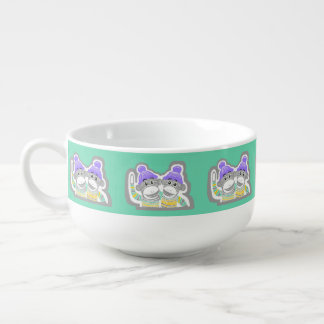 Grey, Mint, Purple Sock Monkeys Soup Mug