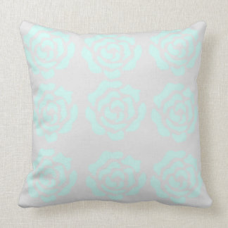 Grey & Mint Rose's Throw Pillow