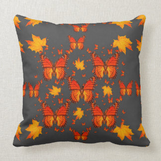 GREY MONARCH BUTTERFLIES & YELLOW  AUTUMN LEAVES CUSHION